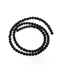 Black Onyx 4mm FROSTED Round Beads