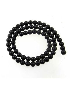 Black Onyx 6mm FROSTED Round Beads