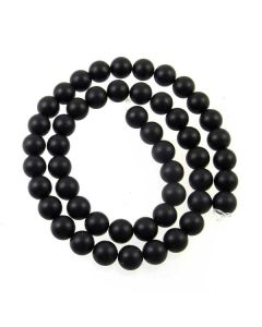 Black Onyx 8mm FROSTED Round Beads