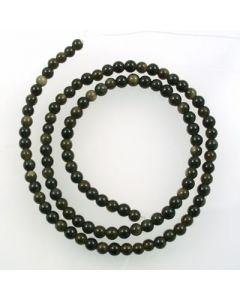 Golden Obsidian 4mm Round Beads
