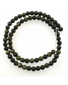 Golden Obsidian 6mm Round Beads