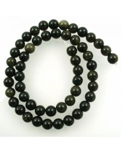 Golden Obsidian 8mm Round Beads