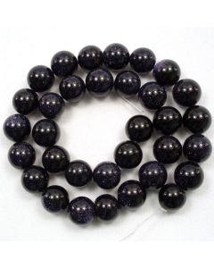 Blue Goldstone 12mm Round Beads
