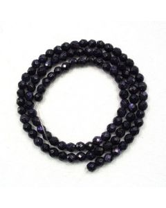 Blue Goldstone 4mm Faceted Round Beads
