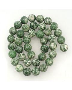 Green Spot Stone 10mm Round Beads