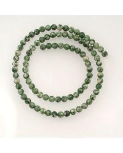 Green Spot Stone 4mm Round Beads