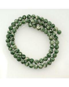 Green Spot Stone 6mm Round Beads