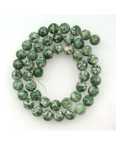 Green Spot Stone 8mm Round Beads
