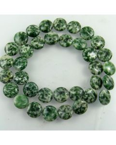 Green Spot Stone 12mm Coin Beads