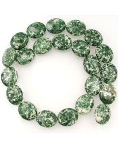 Green Spot Stone 15X18mm Oval Beads