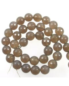 Grey Agate 10mm Faceted Round Beads