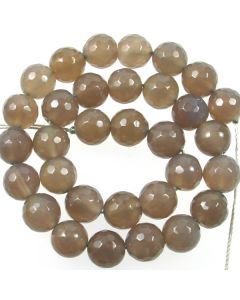 Grey Agate 12mm Faceted Round Beads