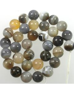 Grey Striped Agate 12mm Round Beads