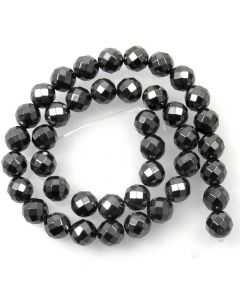 Hematite Faceted (64 facets) 10mm Round Beads