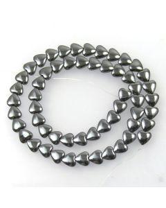 Hematite 8mm Heart Beads
