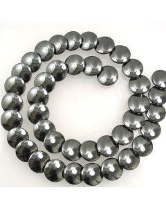 Hematite 12mm Flat Disco Beads