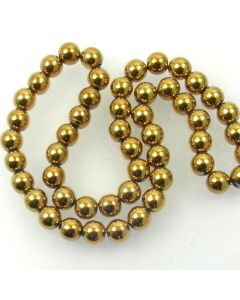 Hematite 10mm Plated Gold Colour Round Beads