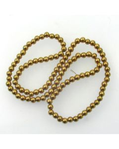 Hematite 4mm Plated Gold Colour Round Beads