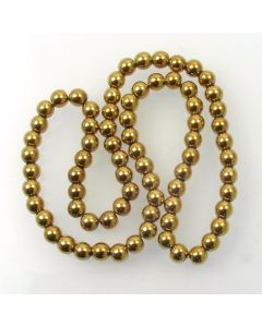 Hematite 6mm Plated Gold Colour Round Beads