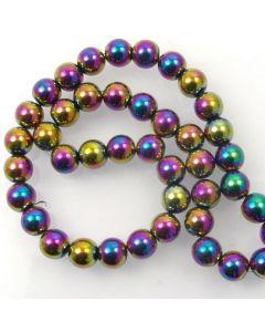 Hematite 10mm Plated Rainbow Colour Round Beads