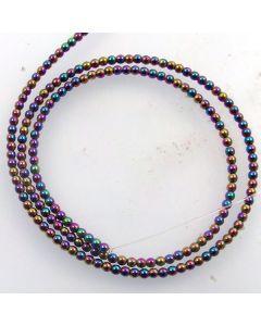 Hematite 2mm Plated Rainbow Colour Round Beads