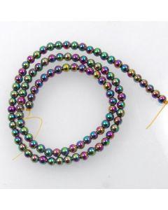 Hematite 4mm Plated Rainbow Colour Round Beads