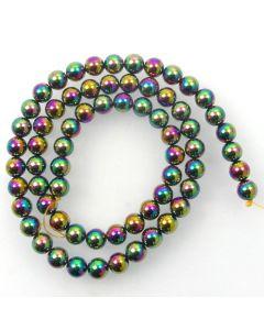 Hematite 6mm Plated Rainbow Colour Round Beads