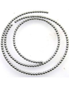 Hematite 2mm Plated Silver Colour Round Beads
