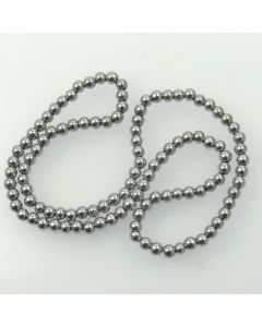 Hematite 4mm Plated Silver Colour Round Beads