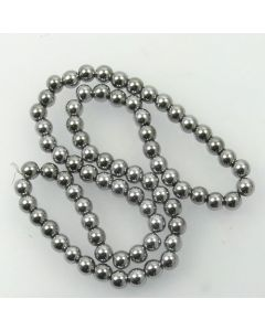 Hematite 6mm Plated Silver Colour Round Beads