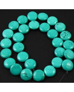 Hubei Province Turquoise (Stabilised) 14mm Coin Beads