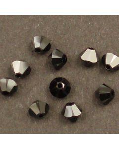 Swarovski® 4mm Jet Hematite Bicone Xilion Cut Beads (Pack of 10)