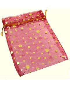 Organza Bags - Large Dark Red with Gold Spot (Pack of Ten)