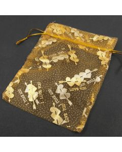 Organza Bags - Large Gold with Gold Heart (Pack of Ten)