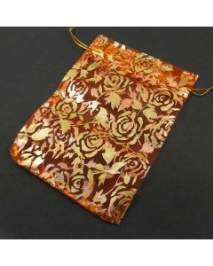 Organza Bags - Large Orange with Gold Flower Pattern (Pack of Ten)