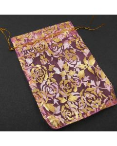 Organza Bags - Large Bright Pink with Gold Large Flower Pattern (Pack of Ten)