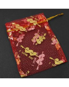 Organza Bags - Medium Red with Gold Heart (Pack of Ten)