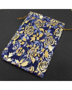 Organza Bags - Large Royal Blue with Gold Flower(Pack of Ten)