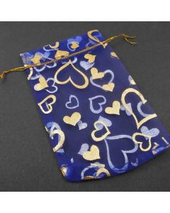 Organza Bags - Large Royal Blue with Gold Heart (Pack of Ten)
