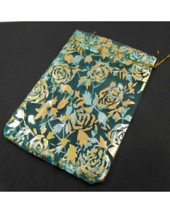 Organza Bags - Large Turquoise with Gold Flower Pattern (Pack of Ten)