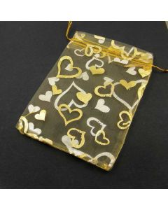 Organza Bags - Large Yellow with Gold Heart (Pack of Ten)