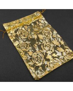 Organza Bags - Large Yellow with Flower Pattern (Pack of Ten)