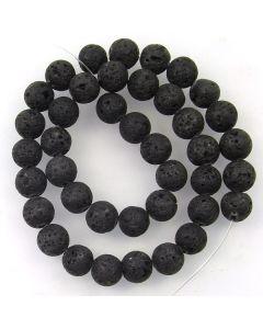 Lava Stone (Black) 10mm (Approx) Round Beads
