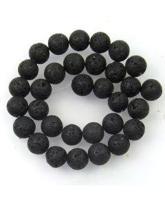 Lava Stone (Black) 12mm (Approx) Round Beads