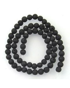 Lava Stone (Black) 6mm (Approx) Round Beads