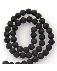 Lava Stone (Black) 8mm (Approx) Round Beads