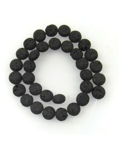 Lava Stone (Black) 12mm Coin Beads