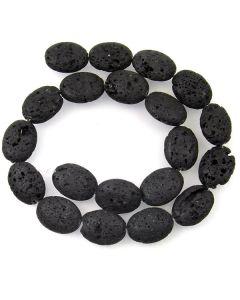 Lava Stone (Black) 15x20mm Oval Beads