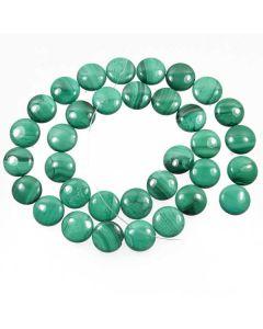 Malachite 12mm Coin Beads - light