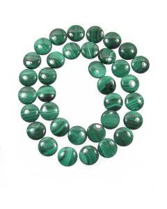 Malachite 12mm Coin Beads - medium